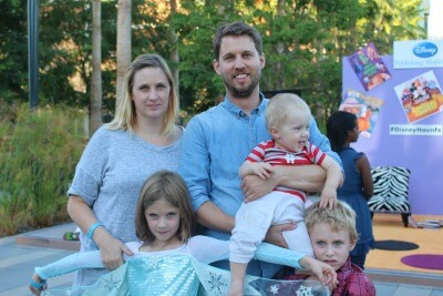 Jon Heder & Family at Disney Party