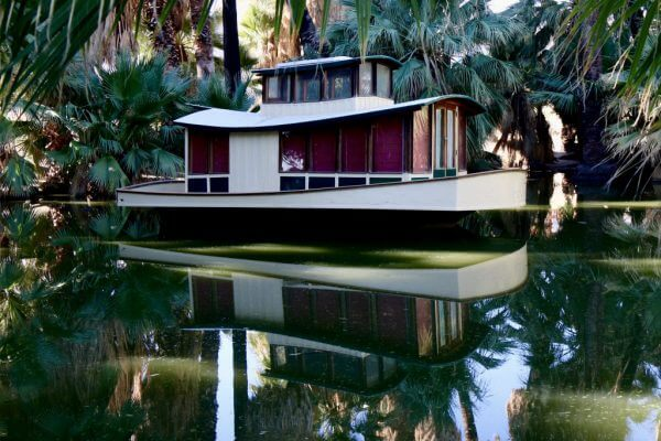 This boat is actually in the desert! It's located in a small lagoon at the 29 Palms Inn