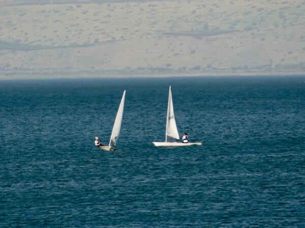 Boaters in the sea of Galilee