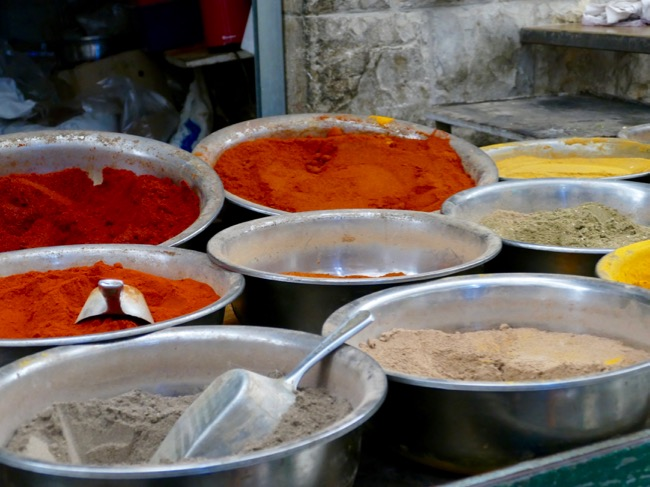 Spices at Machane Yehuda Market in Jerusalem Israel