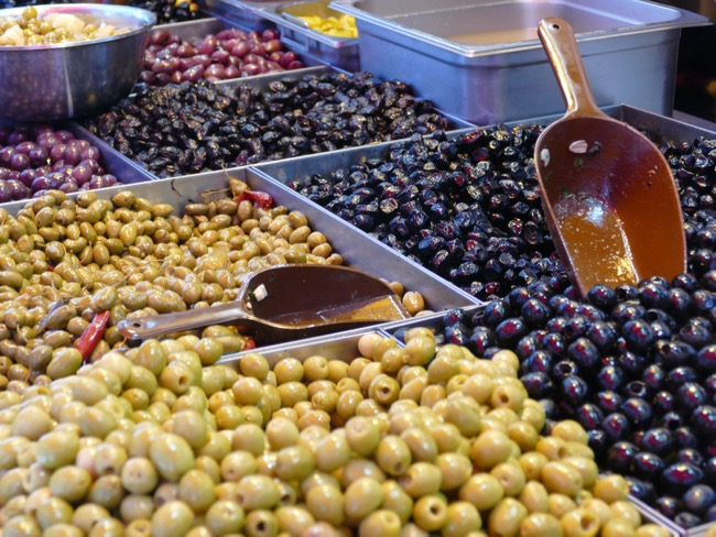 Fresh Olives at Machane Yehuda Market in Jerusalem Israel