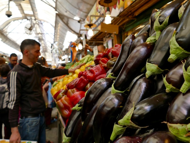 Eggplants and peppers at Machane Yehuda Market in Jerusalem Israel