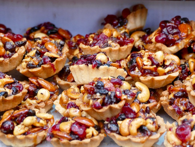 fresh pastries and tarts at Machane Yehuda Market in Jerusalem Israel