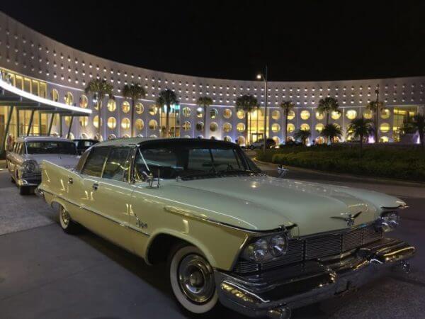 Vintage Cars parked outside Cabana Bay at Universal Orlando