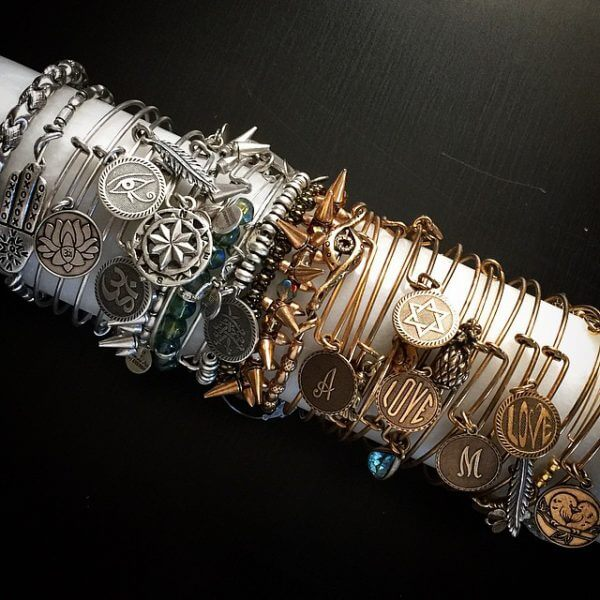 Alex and Ani Bracelet collection stored on an upcycled marble rolling pin