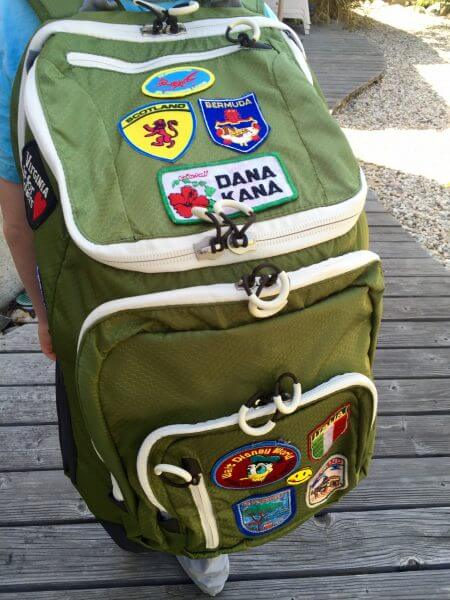 retro travel patch backpack