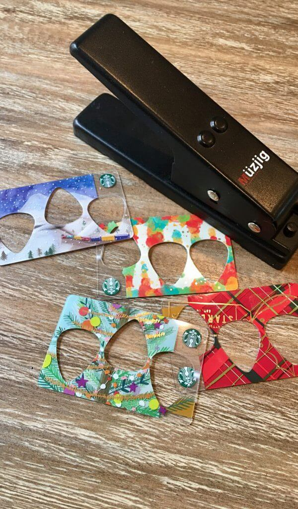 making holiday gift guitar picks from starbucks holiday gift cards