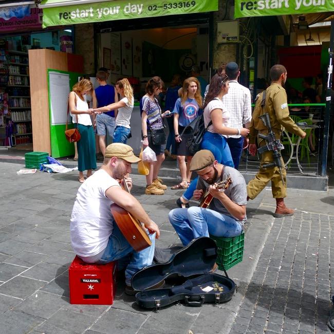 Street scene at Machane Yehuda Market in Jerusalem Israel